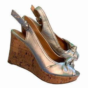 Silver open-toed wedges